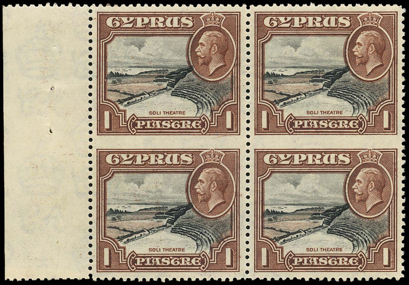 CYPRUS 1934  SG136a Mint 1pi UNIQUE block of 4 IMPERFORATE BETWEEN