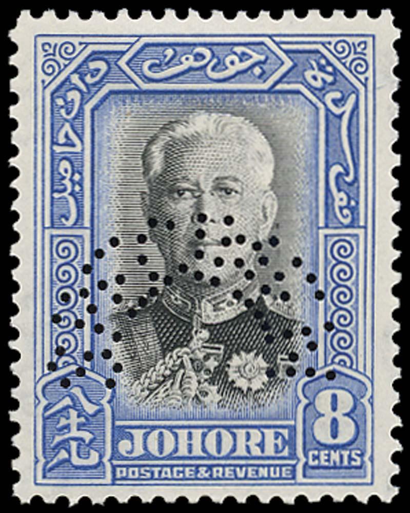 MALAYA - JOHORE 1940  SG130s Specimen 8c Sultan Sir Ibrahim