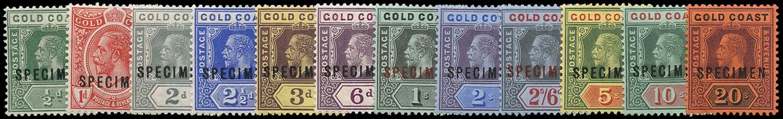 GOLD COAST 1913  SG71s/84s Specimen watermark MCA set of 12