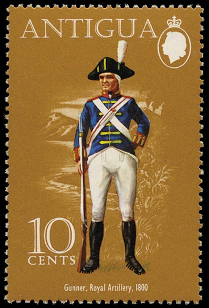 ANTIGUA 1974  SG381a Mint Military Uniforms 15c watermark 55 of Malawi