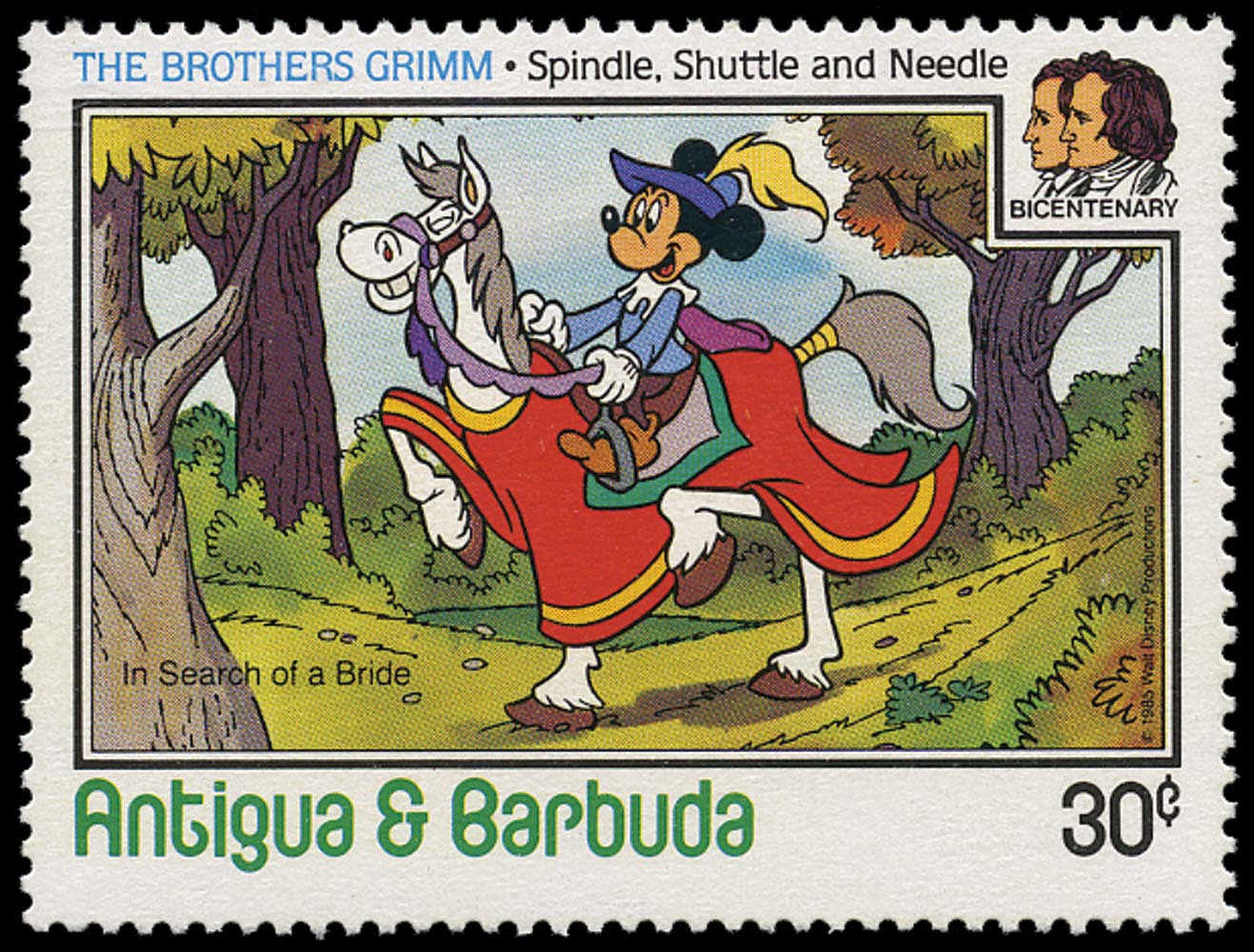 ANTIGUA 1985  SG975a Mint Disney Brothers Grimm 30c Mickey Mouse