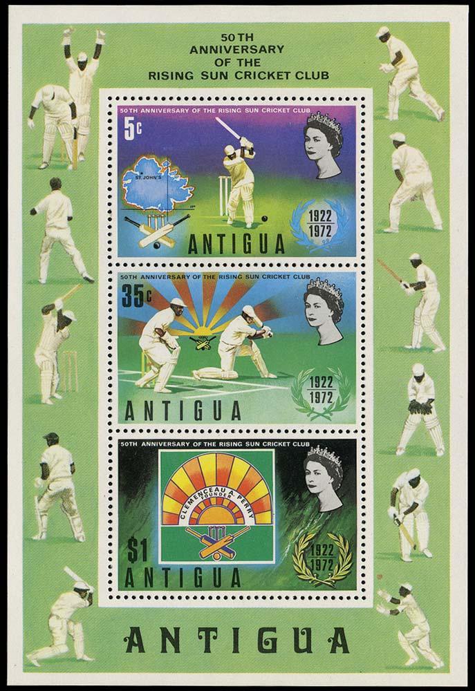ANTIGUA 1972  SGMS344w Mint Cricket miniature sheet watermark inverted