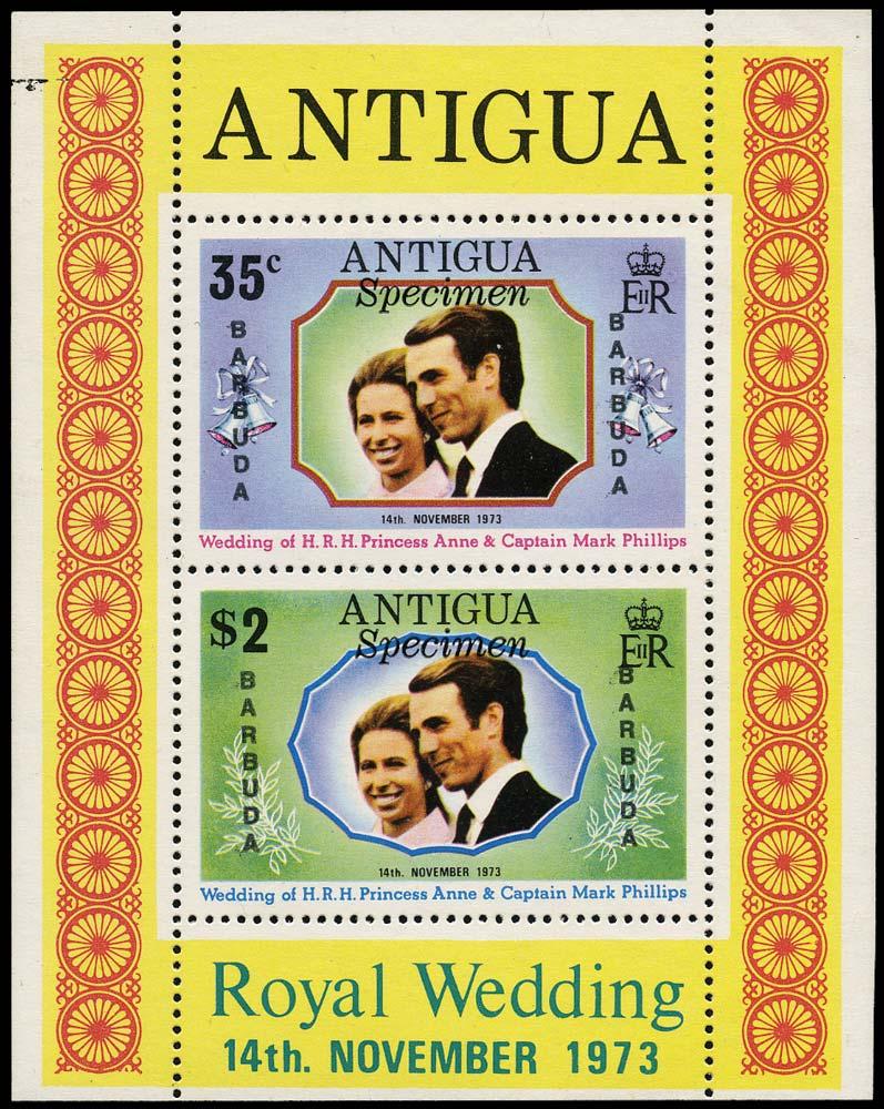 BARBUDA 1973  SG102/03 var Mint Royal Wedding unissued miniature sheet