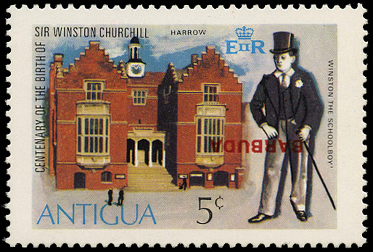 BARBUDA 1974  SG198a Mint Churchill 5c error overprint inverted