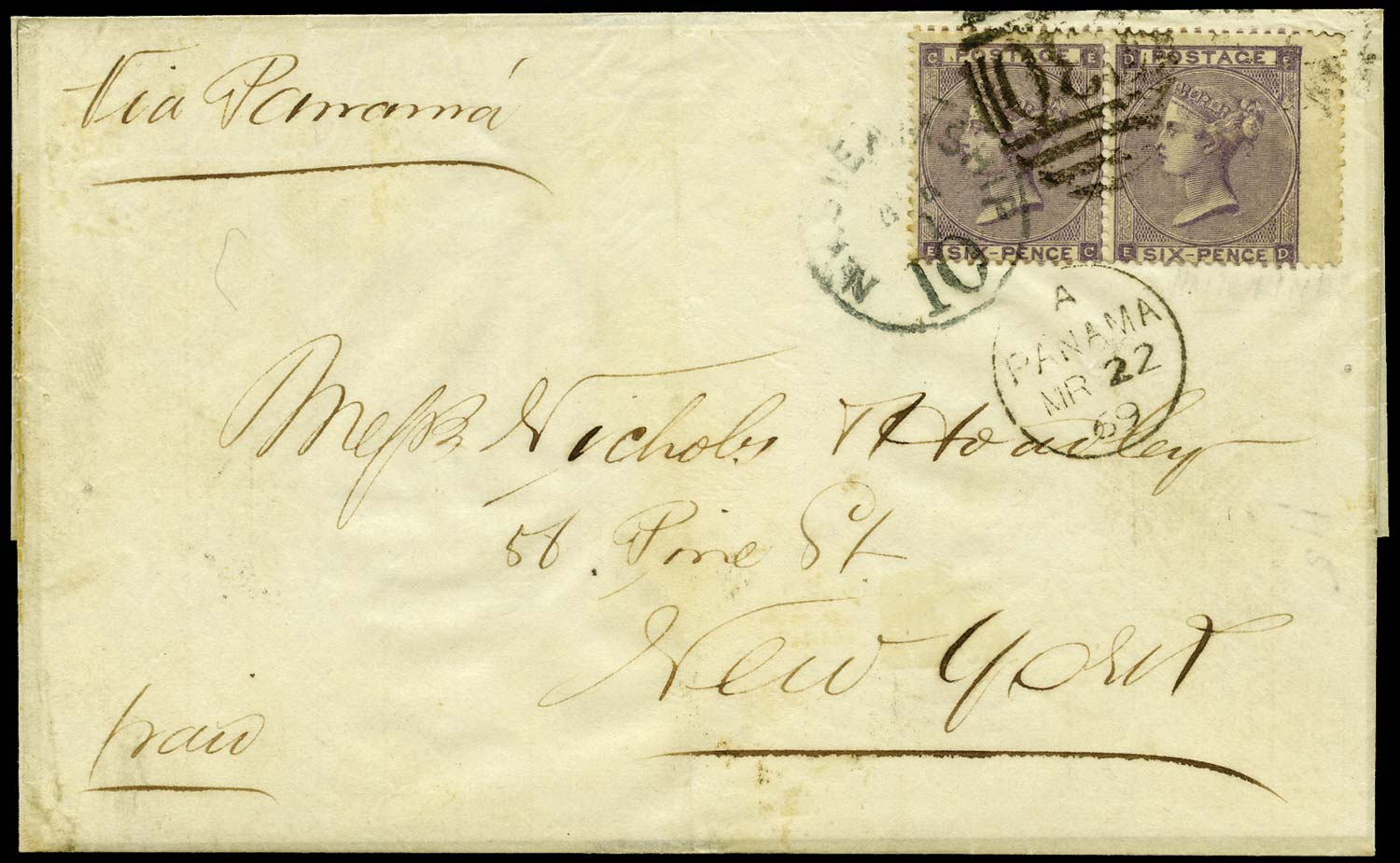 GB 1869  SG85 Pl.4 Cover Valparaiso to New York