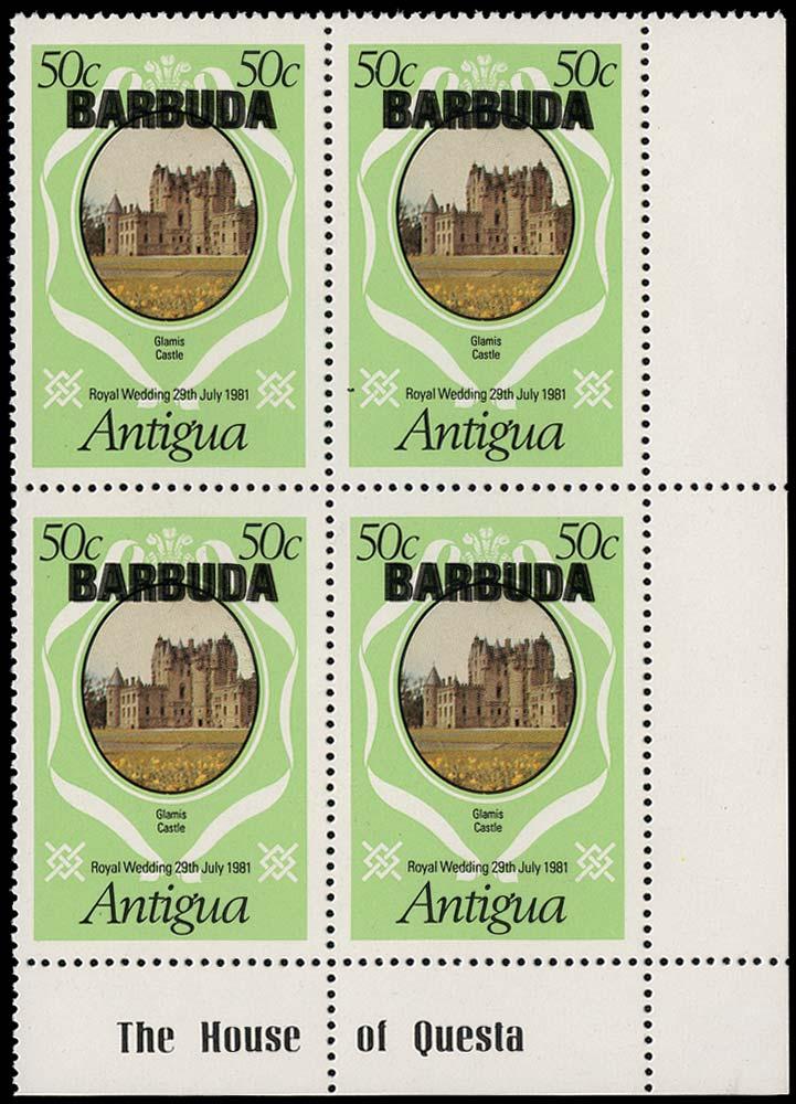BARBUDA 1981  SG573a Mint Royal Wedding 50c Glamis Castle opt double