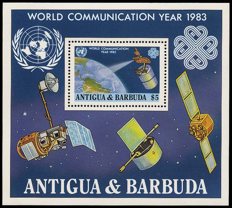 BARBUDA 1983  SGMS662a Mint World Communication Year mini sheet albino opt