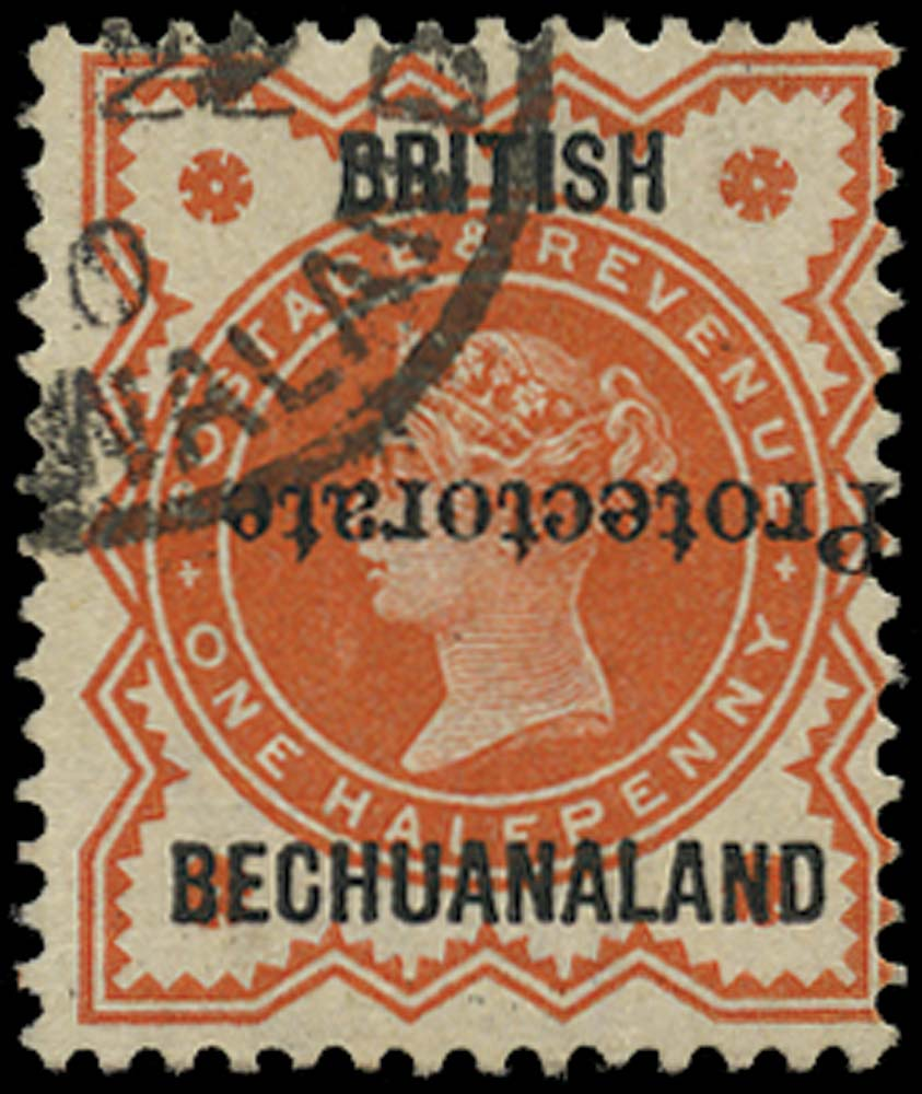BECHUANALAND 1890  SG54a Used ½d vermilion type 16 overprint inverted