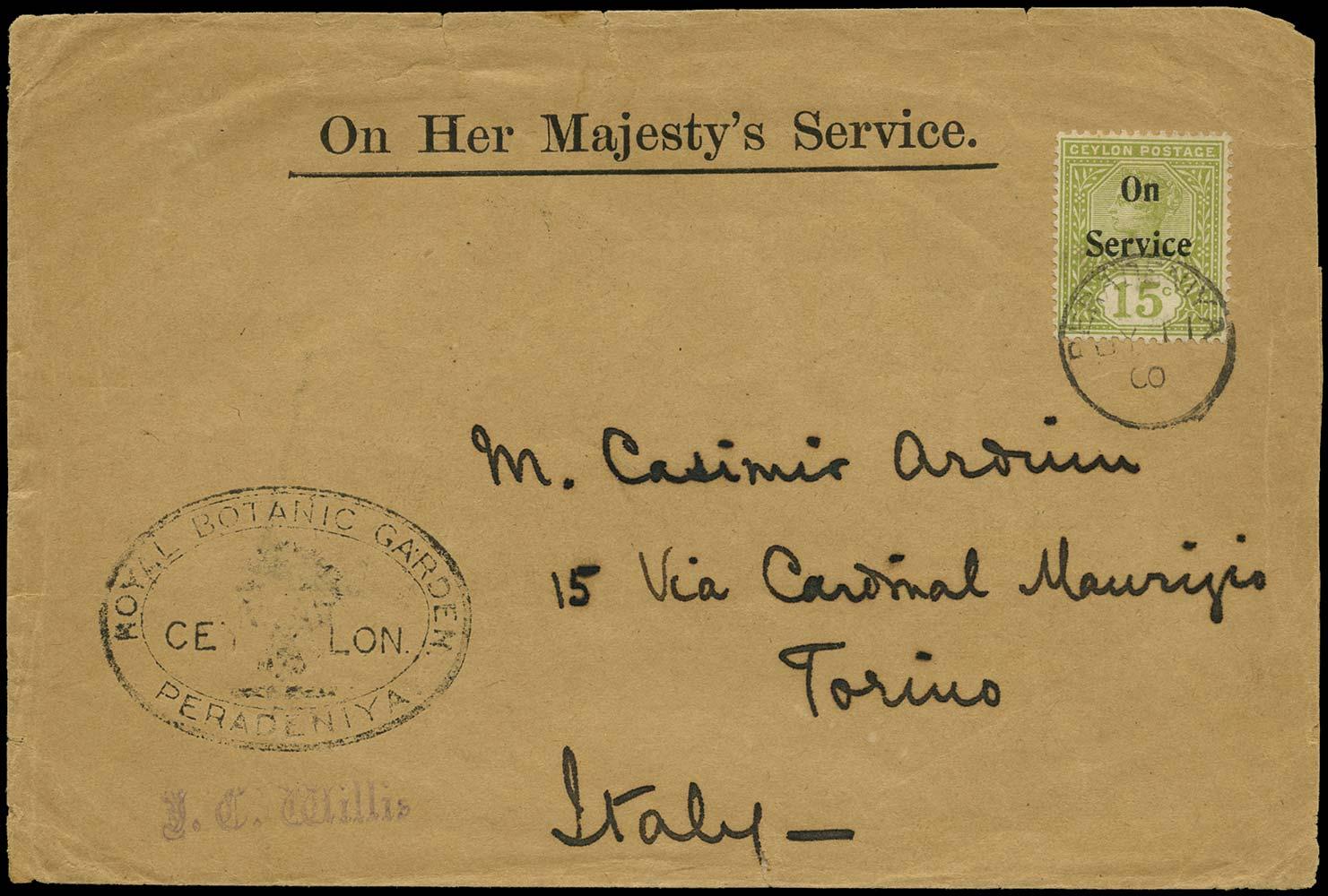 CEYLON 1900  SGO14 Cover Royal Botanic Garden Peradeniya