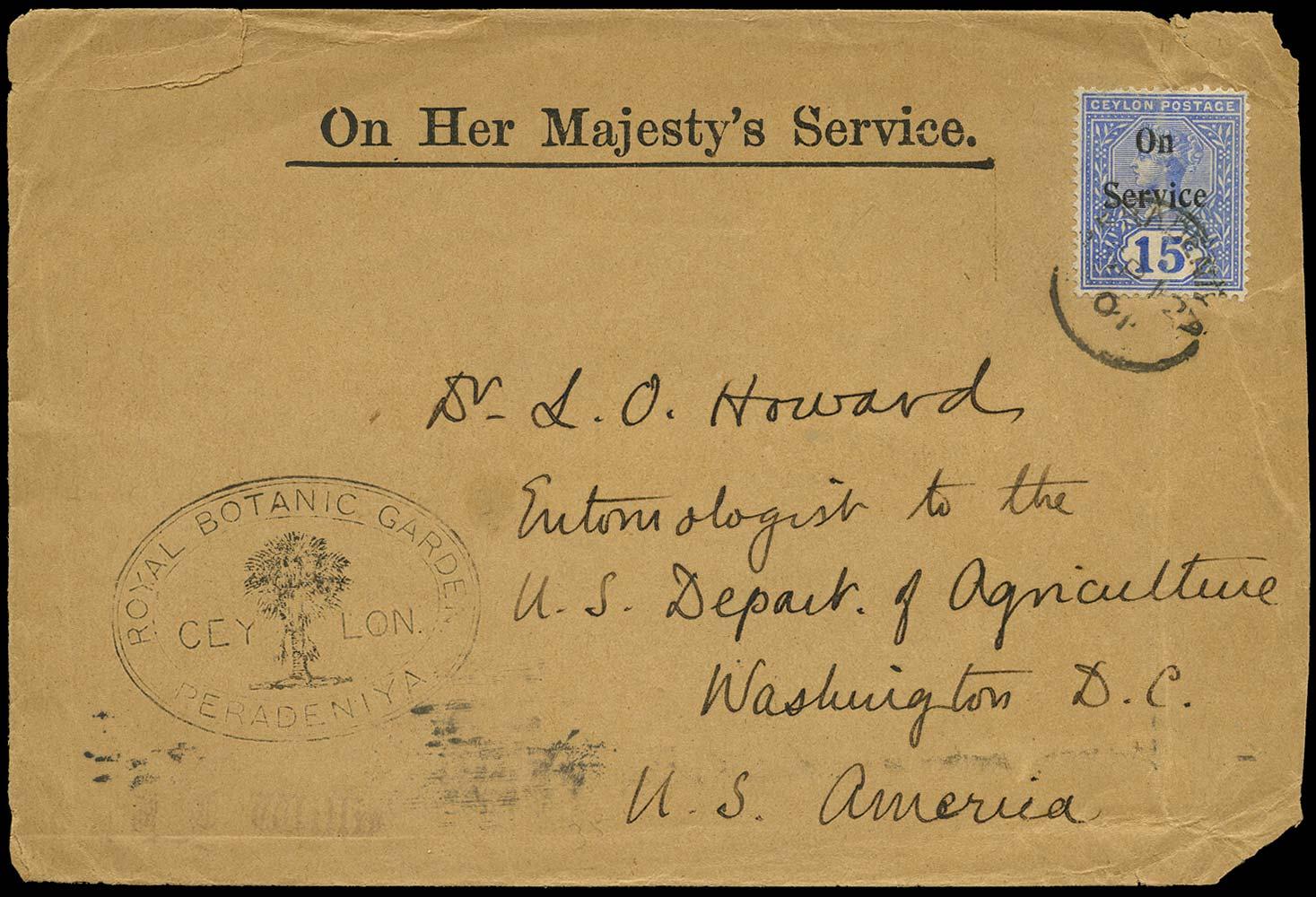 CEYLON 1901  SGO20 Cover Royal Botanic Garden Peradeniya