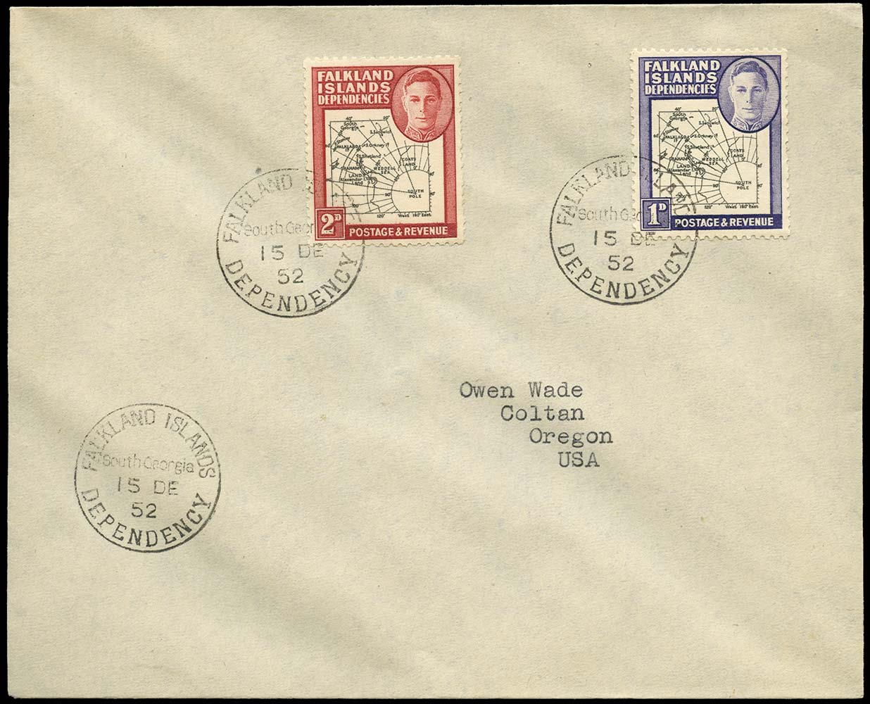 FALKLAND ISLAND DEPS 1952  SGG2, G3b Cover 2d variety Missing I in Shetland Is