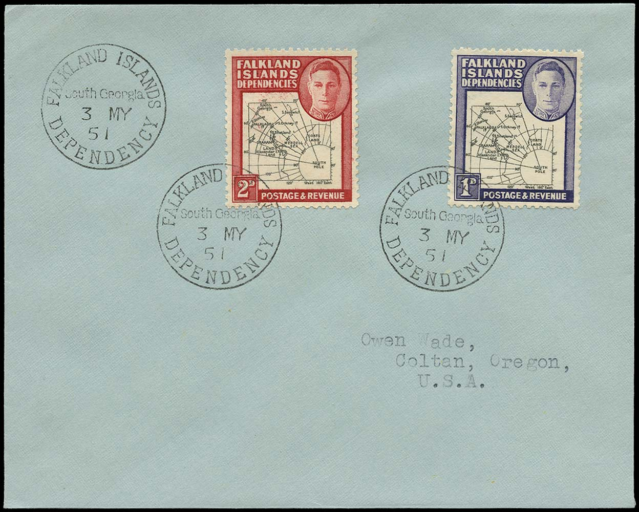 FALKLAND ISLAND DEPS 1951  SGG2, G3b Cover 2d variety Missing I in Shetland Is