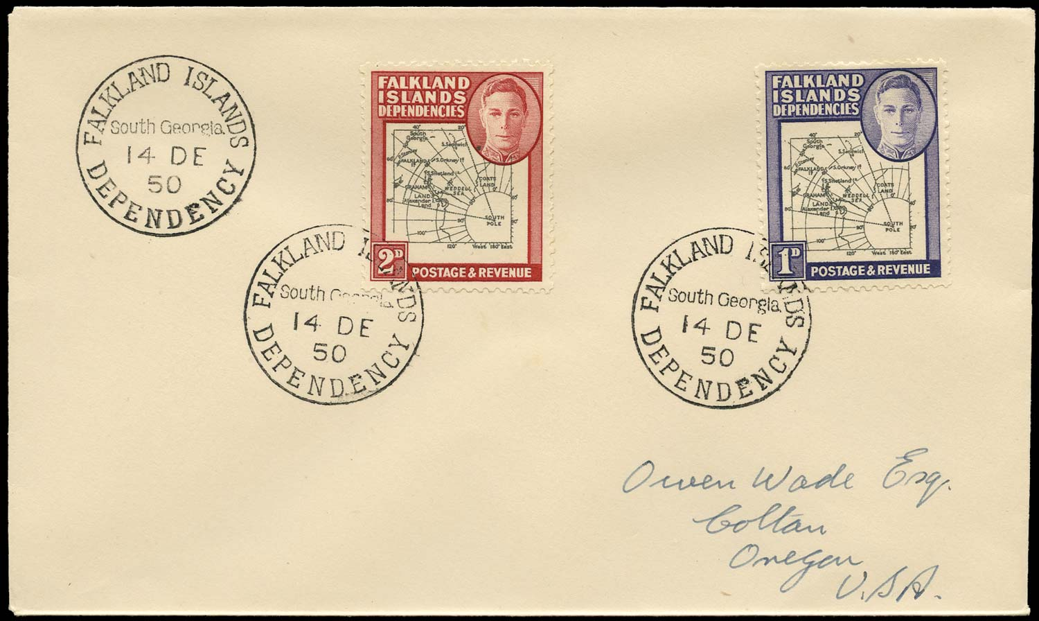 FALKLAND ISLAND DEPS 1950  SGG2, G3d Cover 2d variety Extra dot by oval