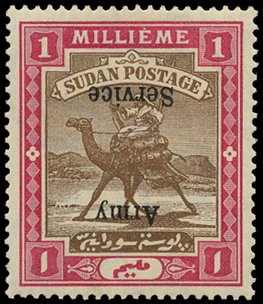 SUDAN 1906  SGA6b Official Army Service 1m overprint inverted