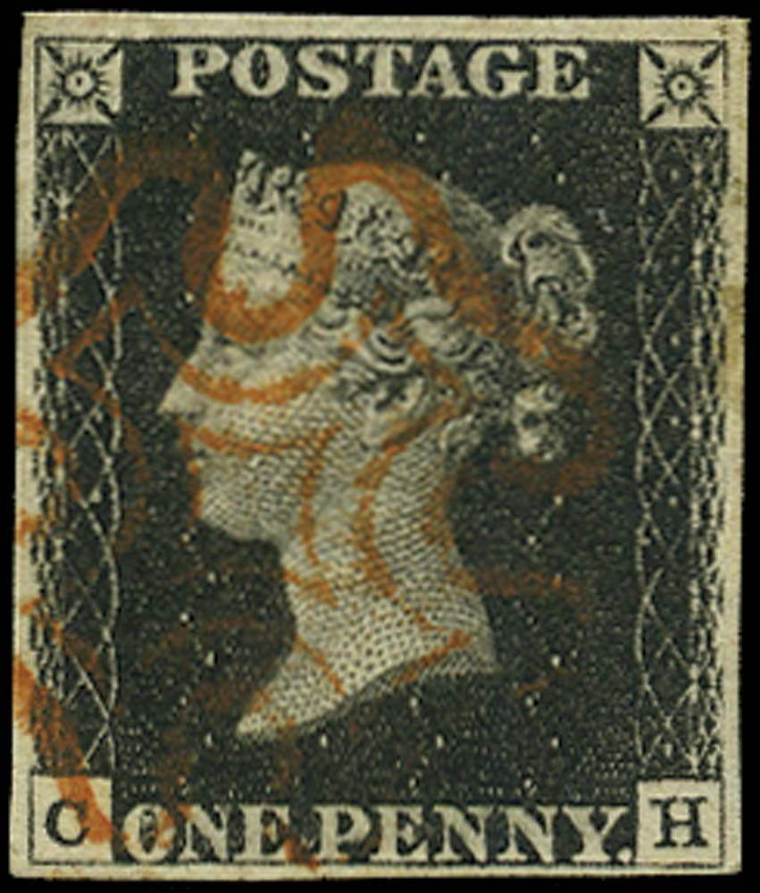 GB 1840  SG2 Pl.6 Penny Black used lettered CH