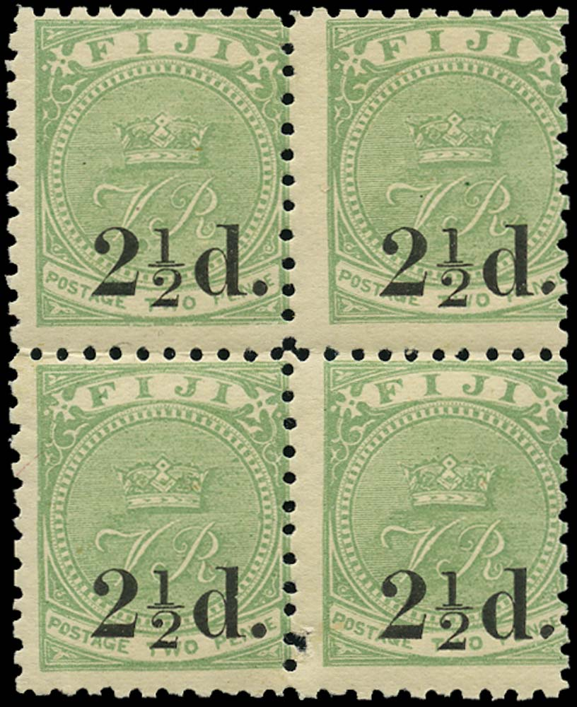 FIJI 1891  SG70 Mint 2½d on 2d type 14 surcharge variety Damaged stop after d