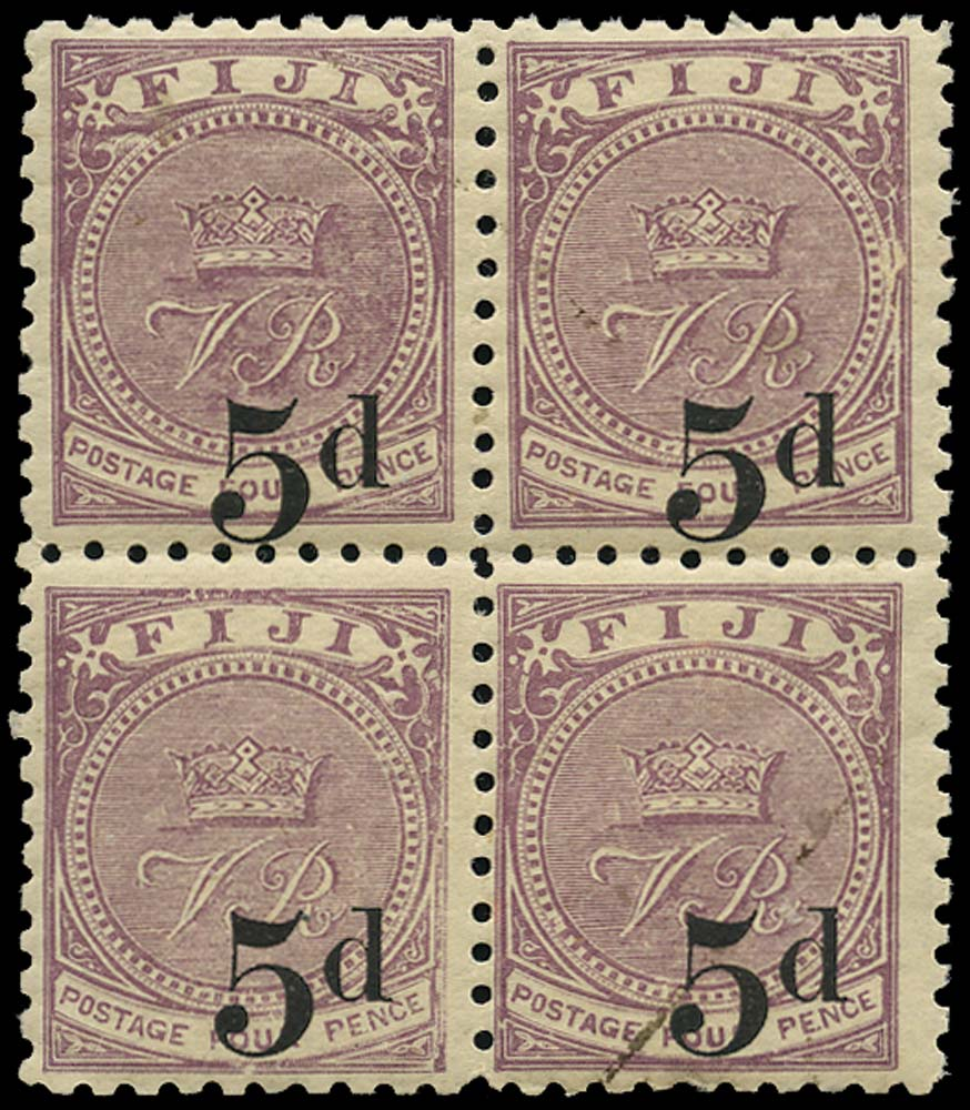 FIJI 1892  SG73a Mint 5d on 4d dull purple type 17 surcharge