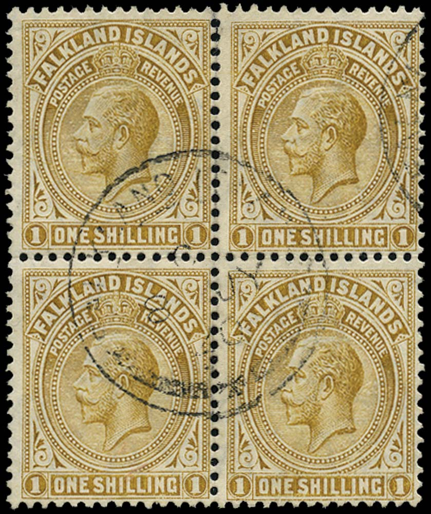 FALKLAND ISLANDS 1912  SG65a Used 1s pale bistre-brown watermark MCA