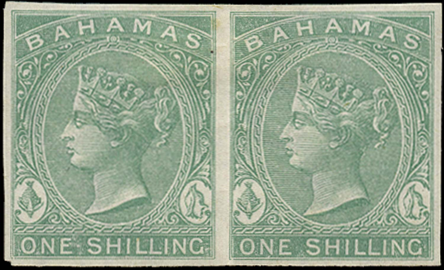 BAHAMAS 1863  SG38 Proof 1s imperforate plate proof on white paper