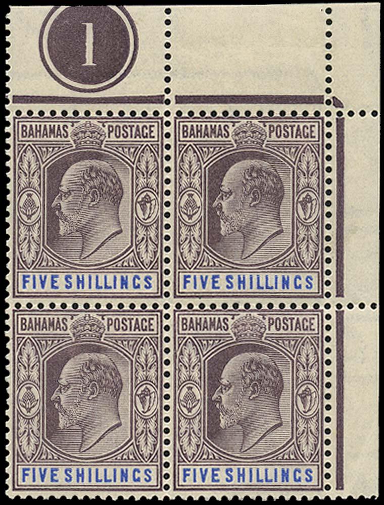 BAHAMAS 1902  SG69 Mint 5s watermark CA plate block