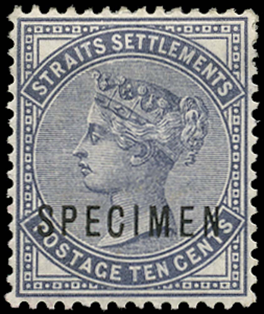MALAYA - STRAITS 1882  SG49s Specimen 10c slate watermark CC