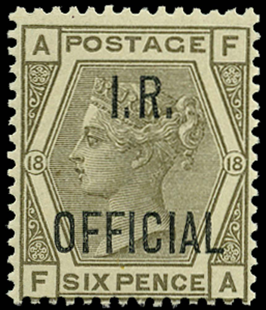 GB 1882  SGO4 Pl.18 Official U/M example (FA)