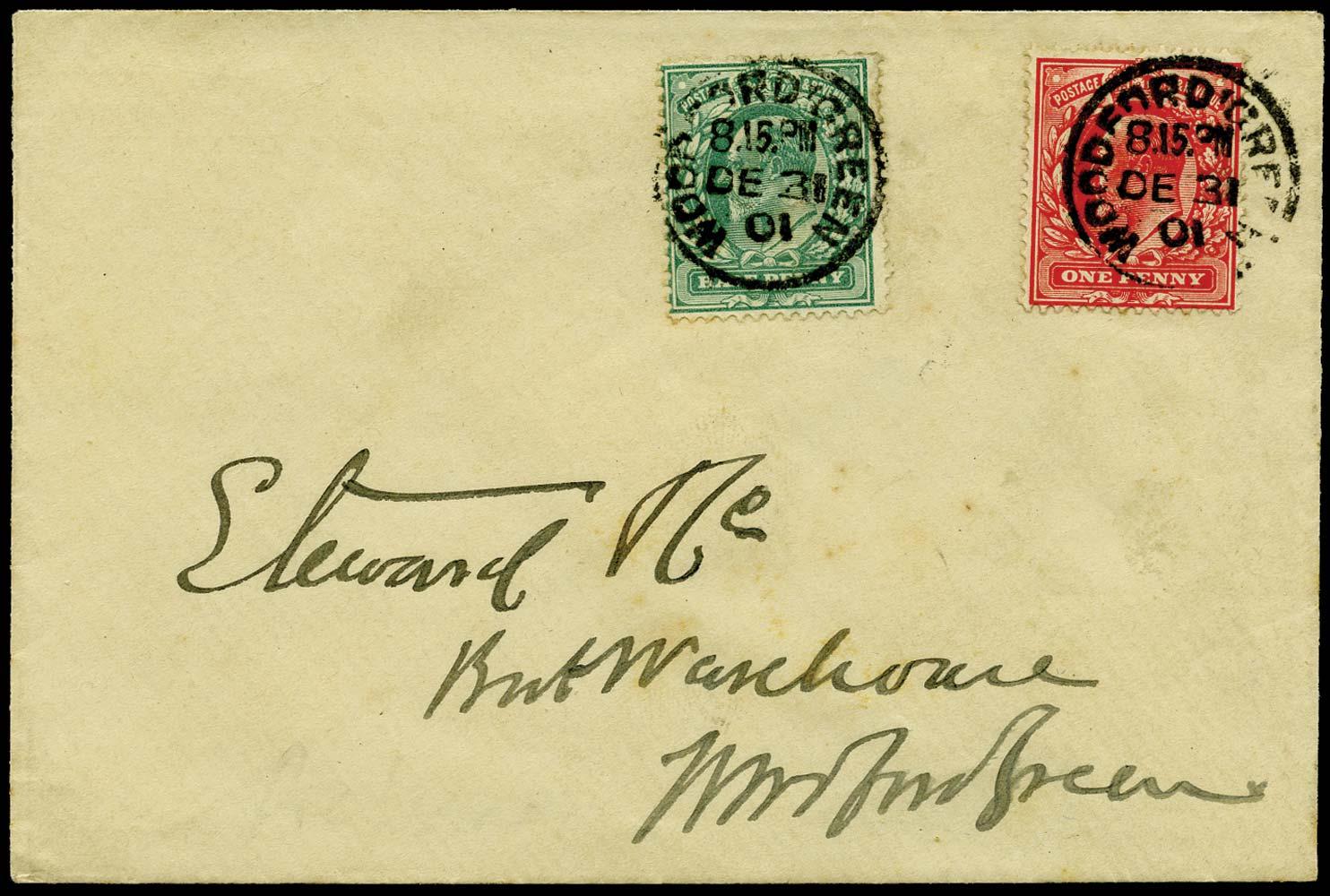GB 1901  SG216, 219 Cover Pre-release cover DE.31.1901
