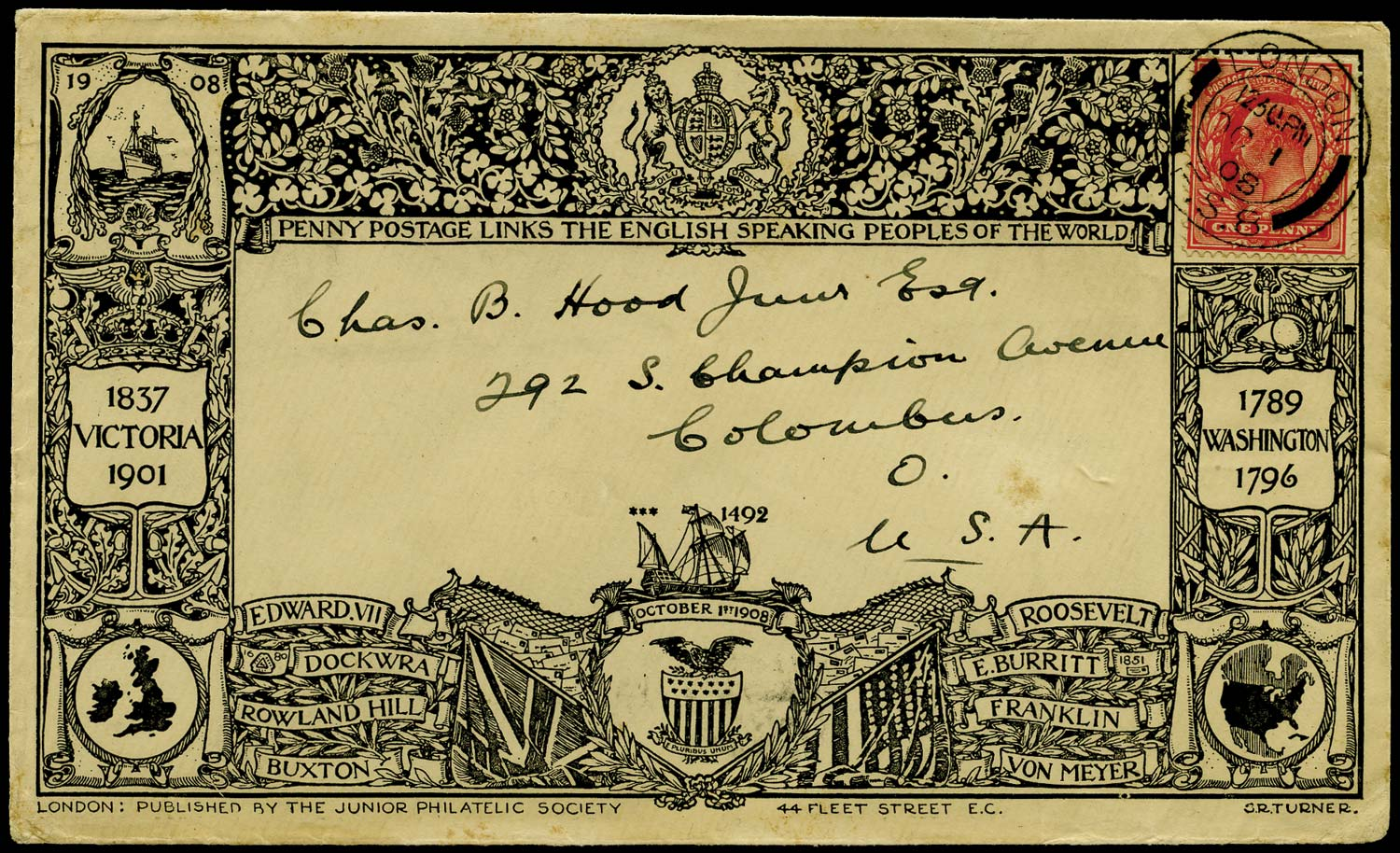 GB 1901  SG219 Cover first day of Penny Postage to the U.S.