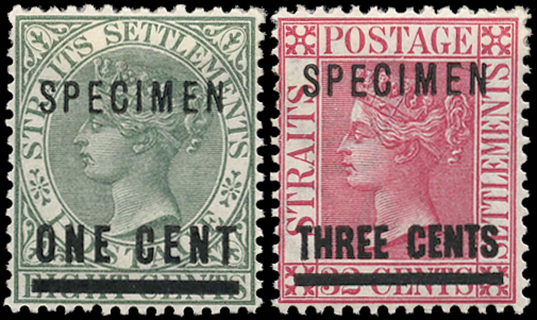 MALAYA - STRAITS 1892  SG93s/94s Specimen