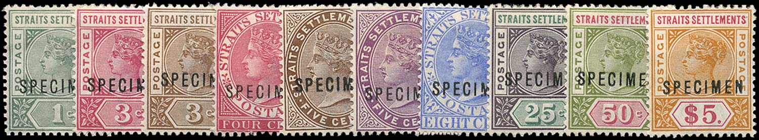 MALAYA - STRAITS 1892  SG95s/105s Specimen 8c with constant variety Broken M