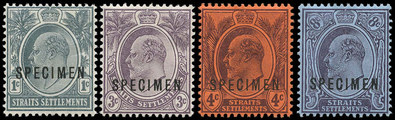 MALAYA - STRAITS 1903  SG123s/26s Specimen New designs set of 4 watermark CA