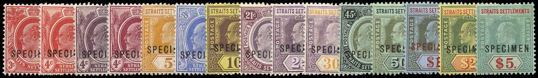 MALAYA - STRAITS 1906  SG153s/67s Specimen 4c claret showing variety Broken M