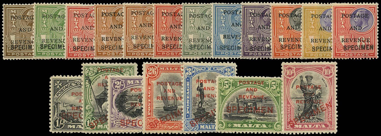 MALTA 1928  SG174s/92s Specimen