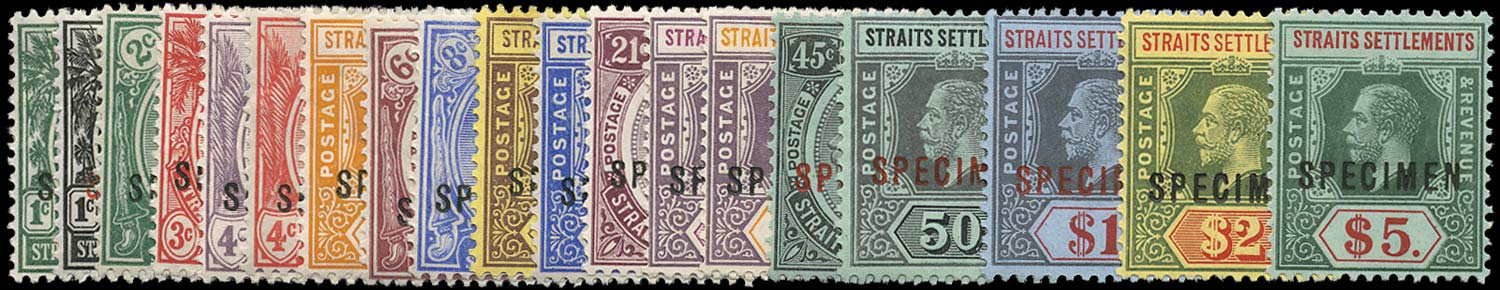 MALAYA - STRAITS 1912  SG193s/212s Specimen watermark MCA set of 19