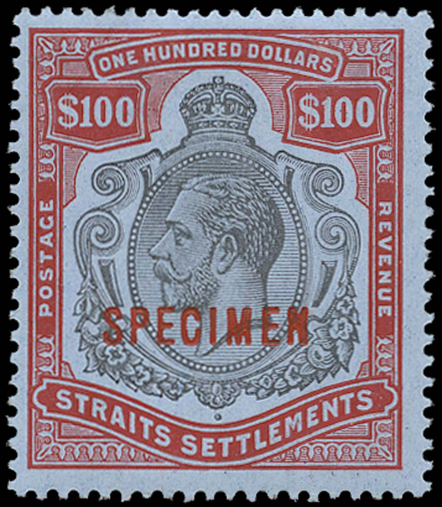 MALAYA - STRAITS 1912  SG214s Specimen $100 black and carmine watermark MCA