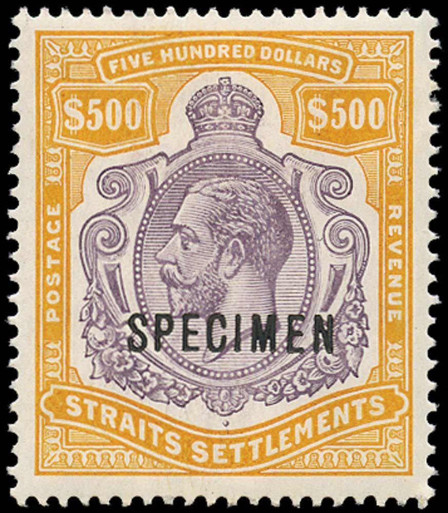 MALAYA - STRAITS 1912  SG215s Specimen $500 watermark MCA