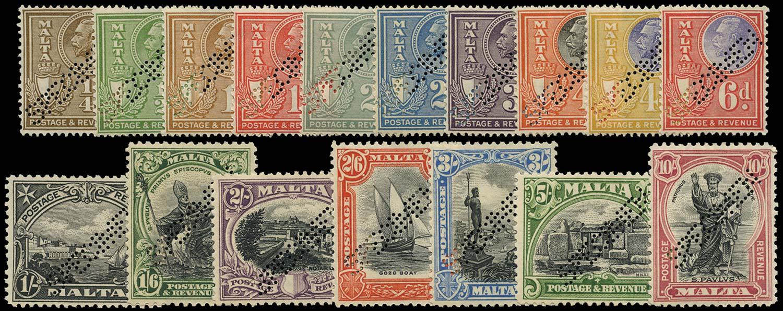MALTA 1930  SG193s/209s Specimen