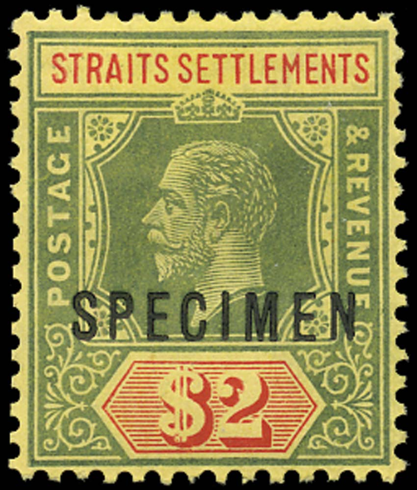 MALAYA - STRAITS 1912  SG211as Specimen $2 green and red (yellow back)