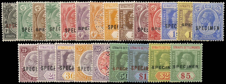 MALAYA - STRAITS 1921  SG218s/40s Specimen Script watermark set of 23 to $5