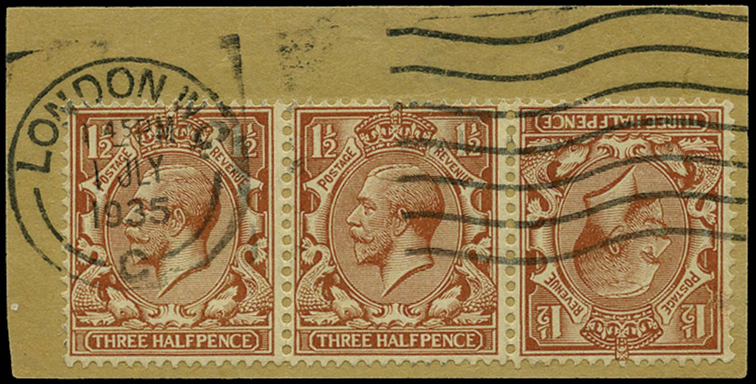 GB 1924  SG420a Used tête-bêche strip of three