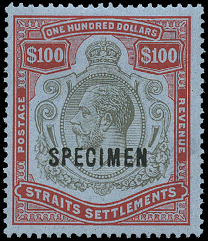 MALAYA - STRAITS 1921  SG240cs Specimen $100 black and carmine Script watermark