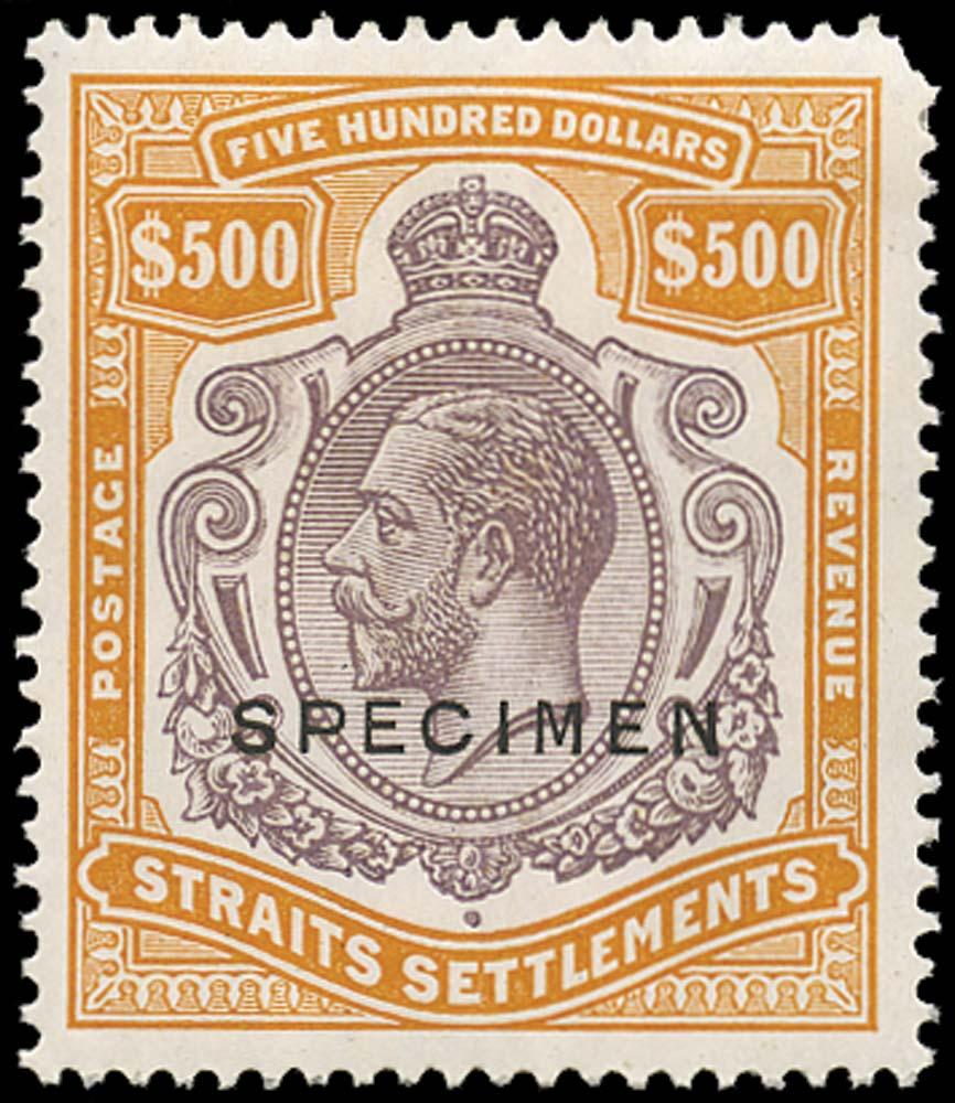 MALAYA - STRAITS 1921  SG240ds Specimen $500 Script watermark