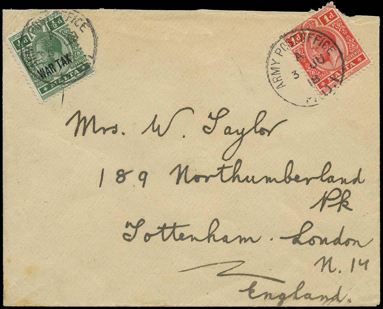 MALTA 1918  SG73a, 92 Cover