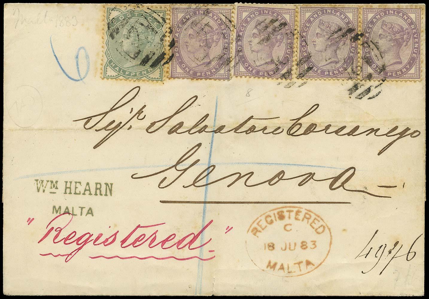 MALTA 1883  SGZ90, 97 Cover