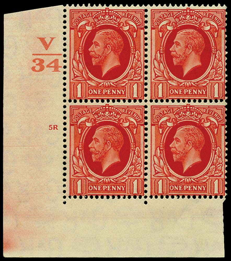 GB 1934  SG440wi Mint (Wmk Inverted) Control V34, cylinder 5R