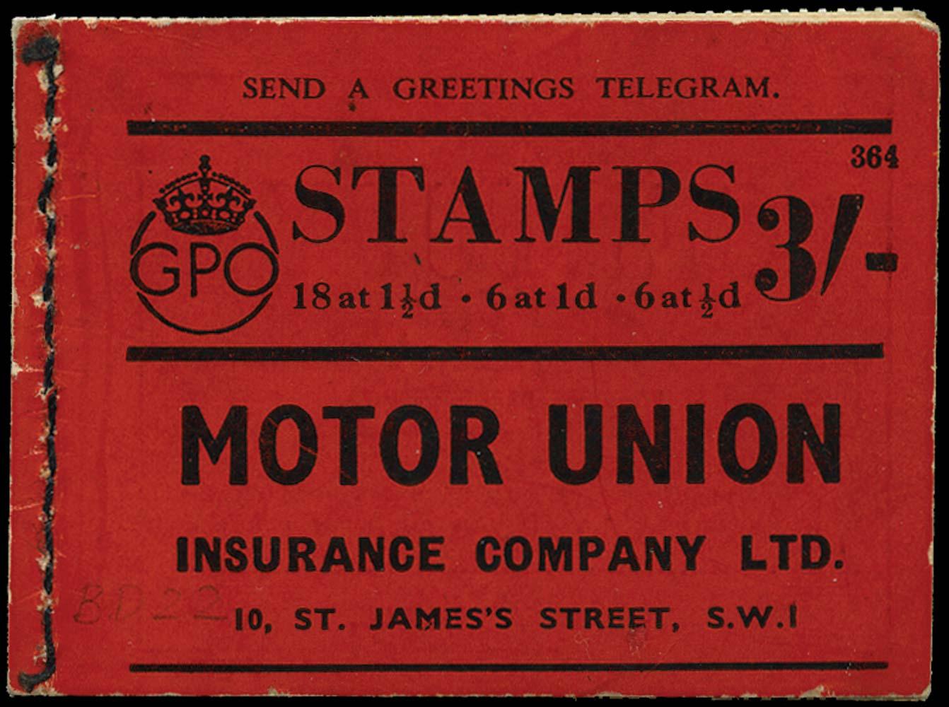GB 1938  SGBD22 Booklet (Edition No.364)