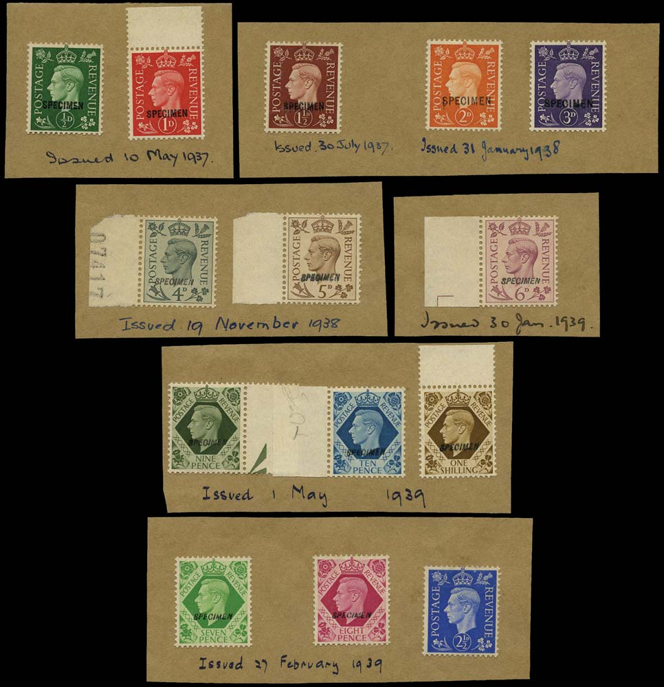 GB 1937  SG462/75s Specimen set of thirteen on printers record paper