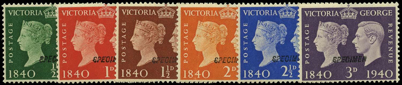 GB 1940  SG479/84s Specimen set of six, type 23