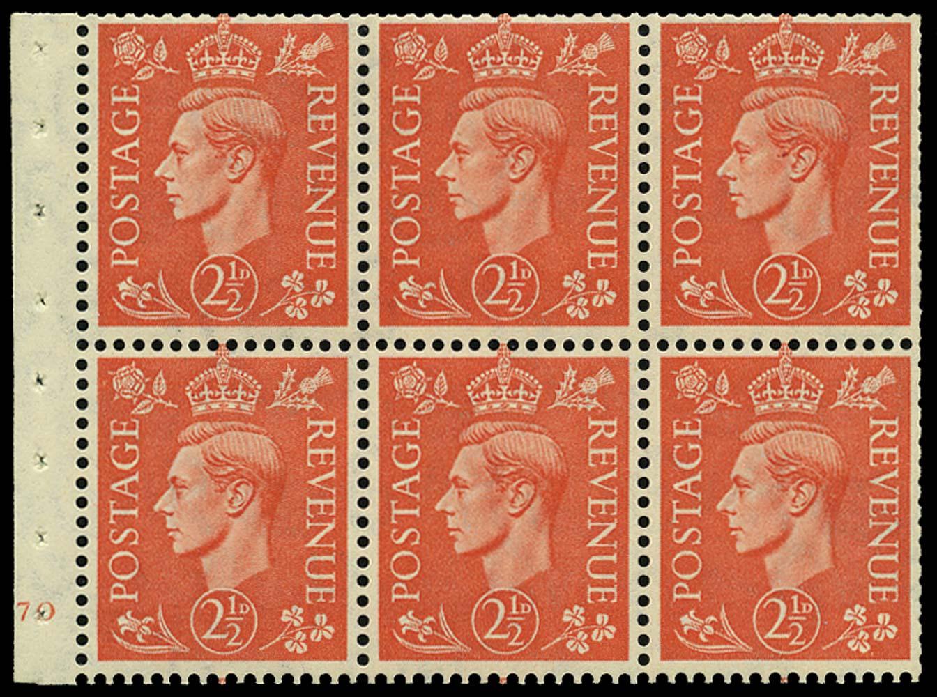 GB 1951  SG507c Booklet pane J70 (no dot)