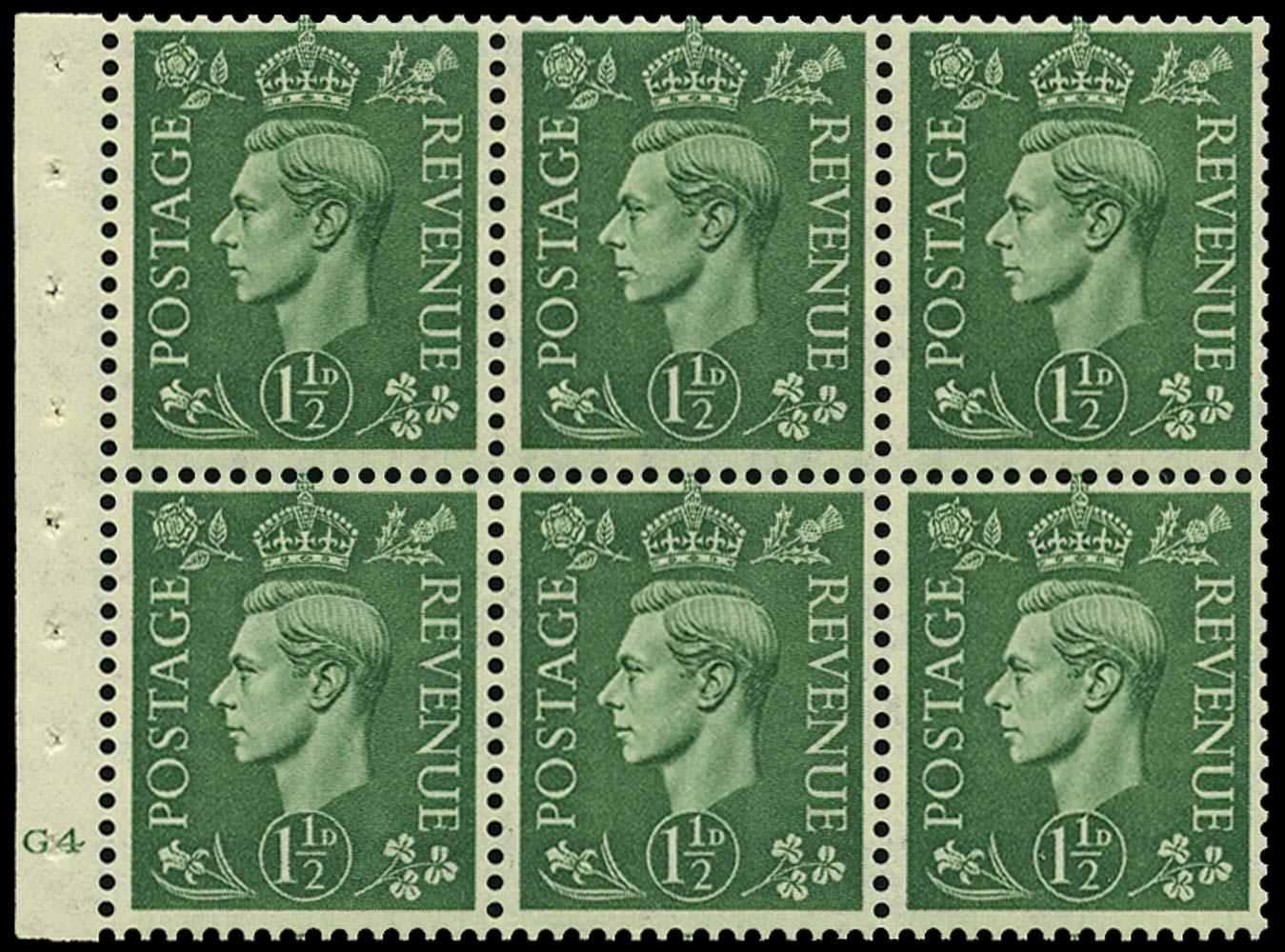 GB 1951  SG505b Booklet pane G4 (no dot)